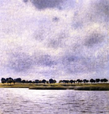 View of Gentofte Lake Sunshower | Vilhelm Hammershoi | oil painting