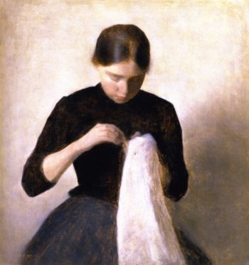 Young Girl Sewing Anna Hammershoi the Artist's Sister | Vilhelm Hammershoi | oil painting