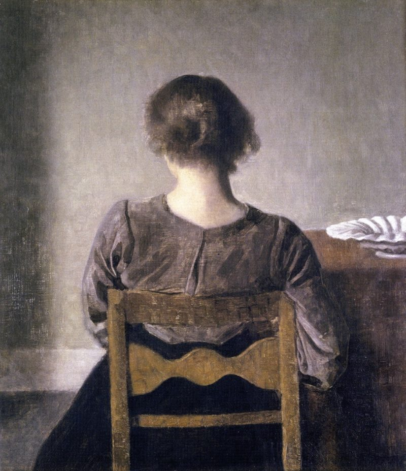 Young Lady Resting   Vilhelm Hammershoi   oil painting