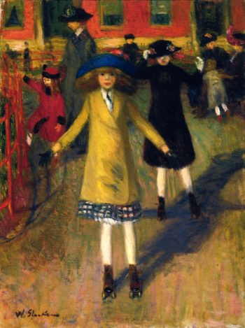 Girl Roller Skating Washington Square | William James Glackens | oil painting