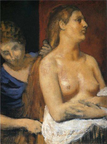 A Maid Combing a Woman's Hair   Pierre Puvis de Chavannes   oil painting