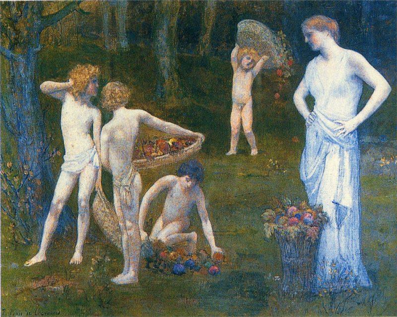 Children in an Orchard | Pierre Puvis de Chavannes | oil painting