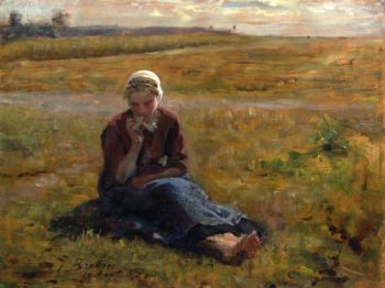 Afternoon Repast | Jules Adolphe Breton | oil painting