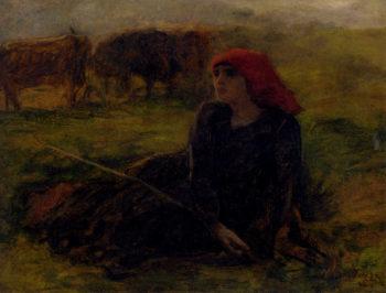 Bergere Dans Un Pre | Jules Adolphe Breton | oil painting