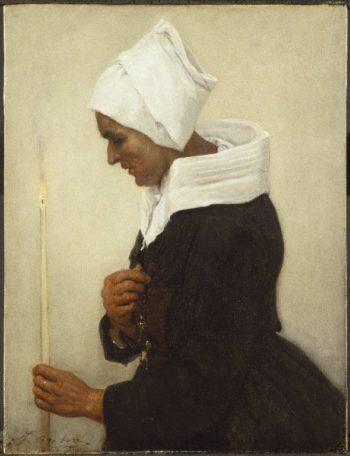 Breton Peasant Woman Holding a Taper | Jules Adolphe Breton | oil painting