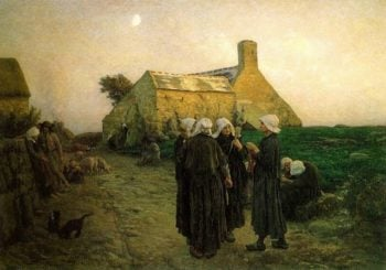 Evening in the Hamlet of Finistere | Jules Adolphe Breton | oil painting