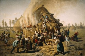 Fire in a Haystack | Jules Adolphe Breton | oil painting