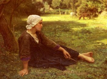 Girl Guarding the Cows | Jules Adolphe Breton | oil painting