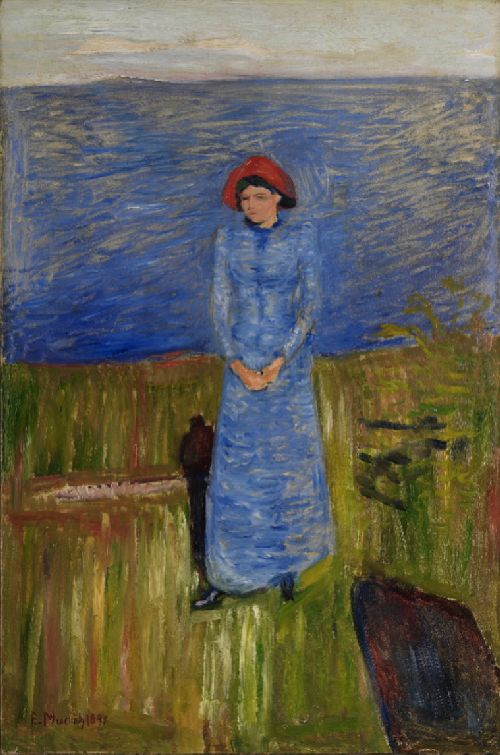 Woman with Red Hat in the Fjord   Edvard Munch   oil painting