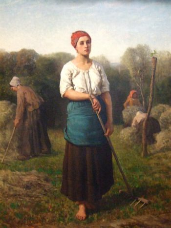 Girl with a Rake | Jules Adolphe Breton | oil painting