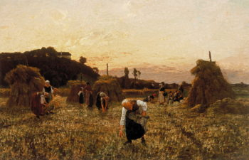 Gleaners at sunset | Jules Adolphe Breton | oil painting
