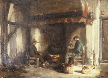 Interior in Kempen | Jules Adolphe Breton | oil painting