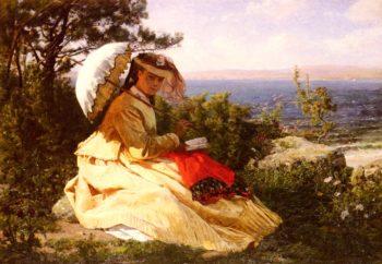 La Femme A L'ombrelle | Jules Adolphe Breton | oil painting