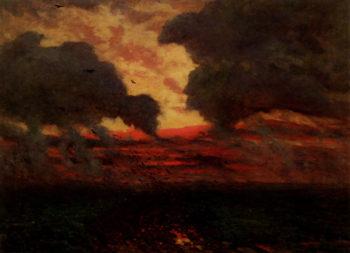 Les Corbeaux Soir D'Orage | Jules Adolphe Breton | oil painting