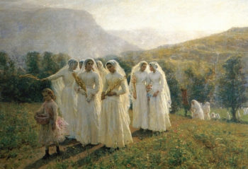 Young Women Going to a Procession | Jules Adolphe Breton | oil painting