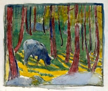 Cow grazing in the forest | Giovanni Giacometti | oil painting