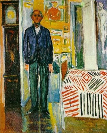 Self portrait Between the clock and the bed | Edvard Munch | oil painting