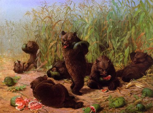 Bears in the Watermelon Patch   William Holbrook Beard   oil painting