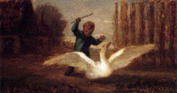 Chasing the Goose | William Morris Hunt | oil painting
