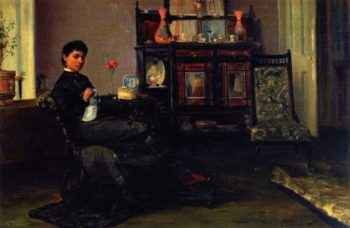 A Lady Sewing in a Parlour | Sir John Lavery | oil painting