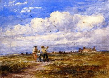 Flying the Kite | David Cox | oil painting