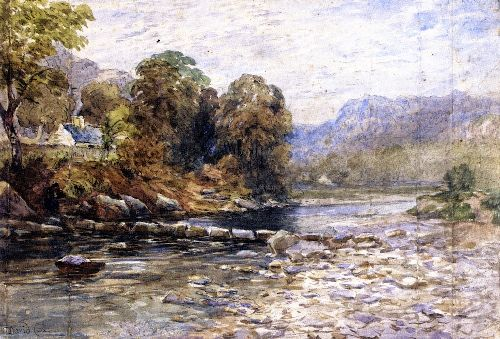 Stepping Stones Bettws y Coed | David Cox | oil painting