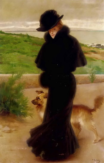 An Elegant Lady with her Faithful Companion by the Beach | Vittorio Matteo Corcos | oil painting