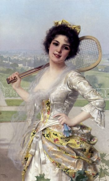 An Elegant Player | Vittorio Matteo Corcos | oil painting