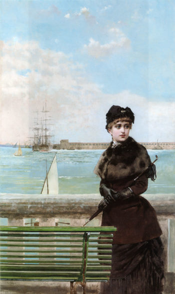 An Elegant Woman at St Malo | Vittorio Matteo Corcos | oil painting