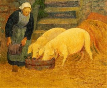 Bretonne donnant a manger aux cochons | Paul Serusier | oil painting