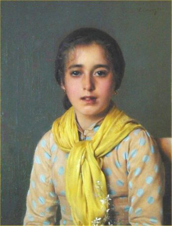 Girl with Yellow Shawl | Vittorio Matteo Corcos | oil painting