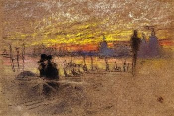 Sunset Red and Gold The Gondolier | James Abbott McNeill Whistler | oil painting