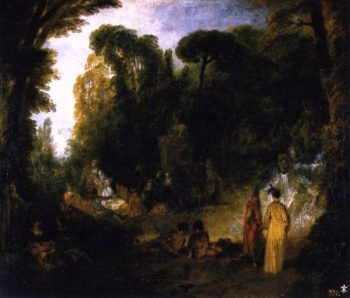 Gathering by the Fountain of Neptune | Jean Antoine Watteau | oil painting