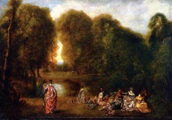 Gathering in a Park | Jean Antoine Watteau | oil painting