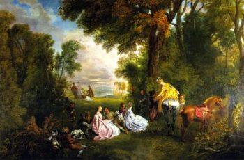 Halt During the Hunt | Jean Antoine Watteau | oil painting