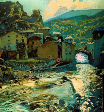 Pont de Les Escaldes | Joaquin Mir Trinxet | oil painting