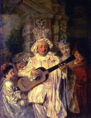 In the Costume of Mezzetin | Jean Antoine Watteau | oil painting