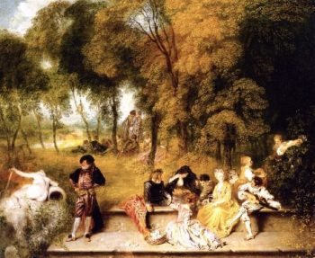 Meeting in the Open Air | Jean Antoine Watteau | oil painting