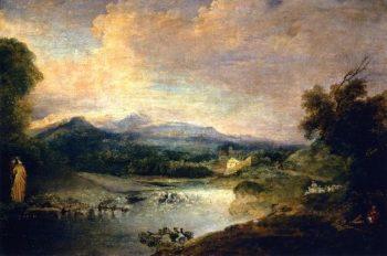 River Landscape | Jean Antoine Watteau | oil painting