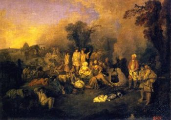 The Bivouac | Jean Antoine Watteau | oil painting