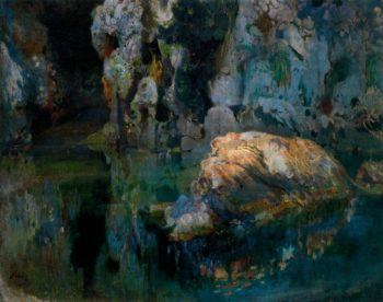 The Rock in the Pond | Joaquin Mir Trinxet | oil painting