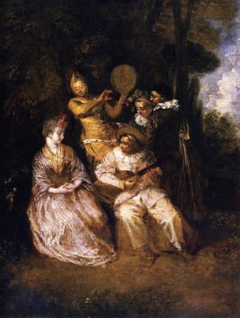The Italian Serenade | Jean Antoine Watteau | oil painting