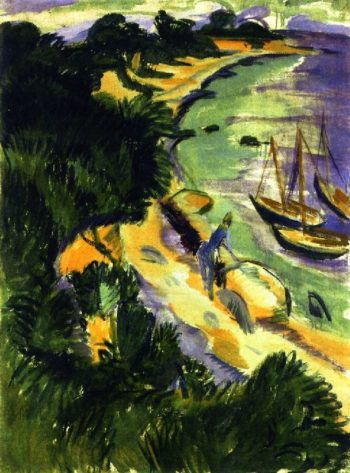 Fehmarn Bay with Boats | Ernst Ludwig Kirchner | oil painting