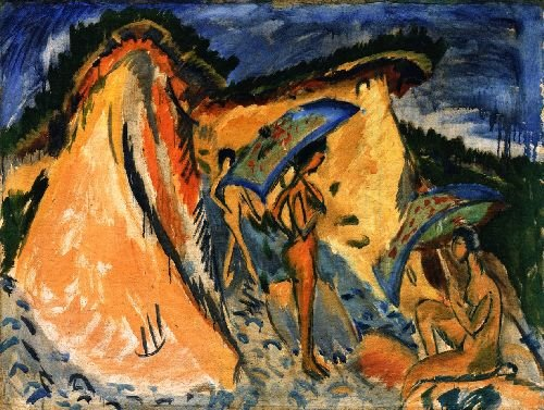 Fehmarn Dunes with Bathers under Japanese Umbrellas | Ernst Ludwig Kirchner | oil painting