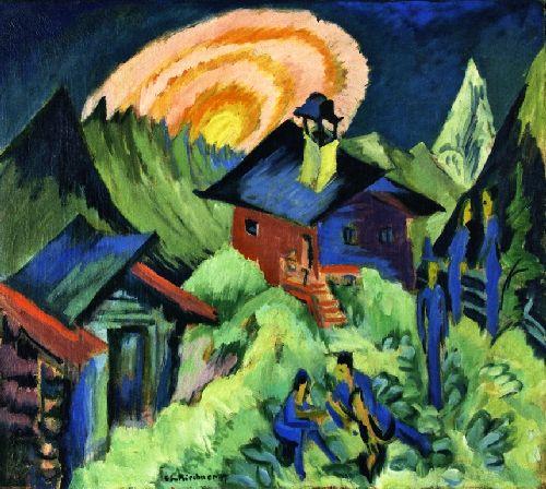 Rising Moon on the Stafelalp   Ernst Ludwig Kirchner   oil painting