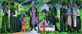 Sunday in the Alps Scene at the Well | Ernst Ludwig Kirchner | oil painting