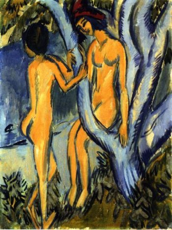 Two Nudes by a Tree | Ernst Ludwig Kirchner | oil painting