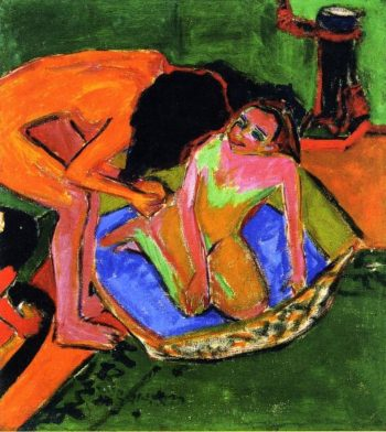 Two Nudes with Bathtub and Oven | Ernst Ludwig Kirchner | oil painting