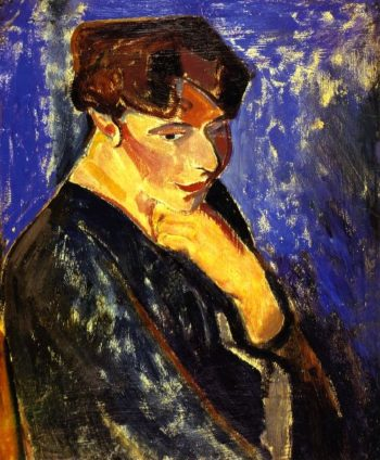 Woman with Blue Background | Alfred Henry Maurer | oil painting