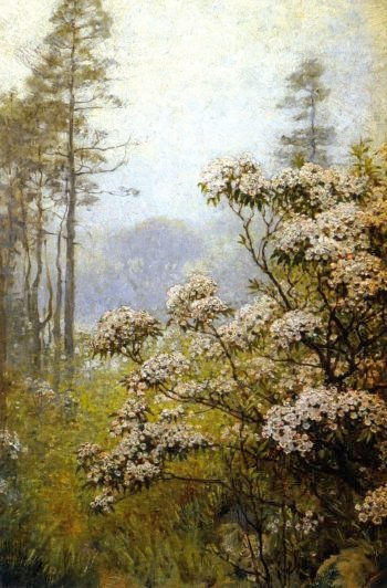 Landscape with Pink Mountain Laurel | Anna Mary Richards Brewster | oil painting